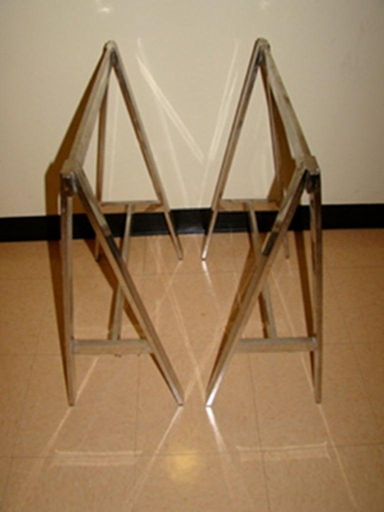 Chrome Sawhorse Adjustable Mid Century Baughman Table Image 4