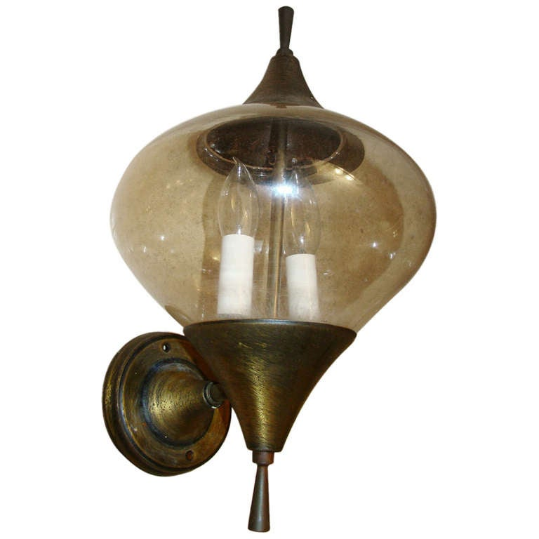 Wall Sconces Mid Century : Mid Century Brass and Glass Sculptural Wall Sconce at 1stdibs