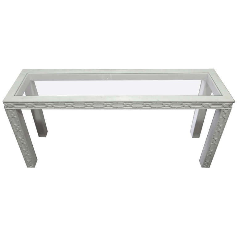 White Lacquered Fretwork Palm Beach Regency Console Table