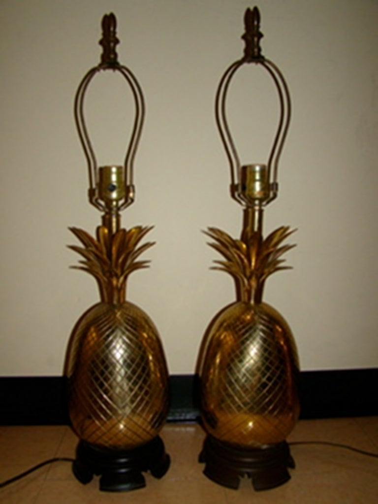 pair of large brass pineapple table lamps at 1stdibs. Black Bedroom Furniture Sets. Home Design Ideas