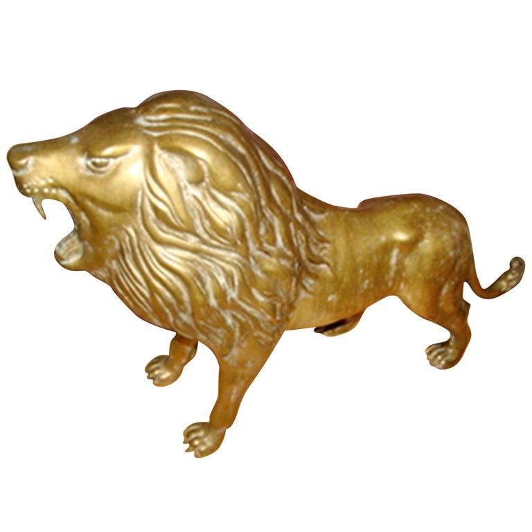 Sculptural Brass Lion Floor Sculpture At 1stdibs