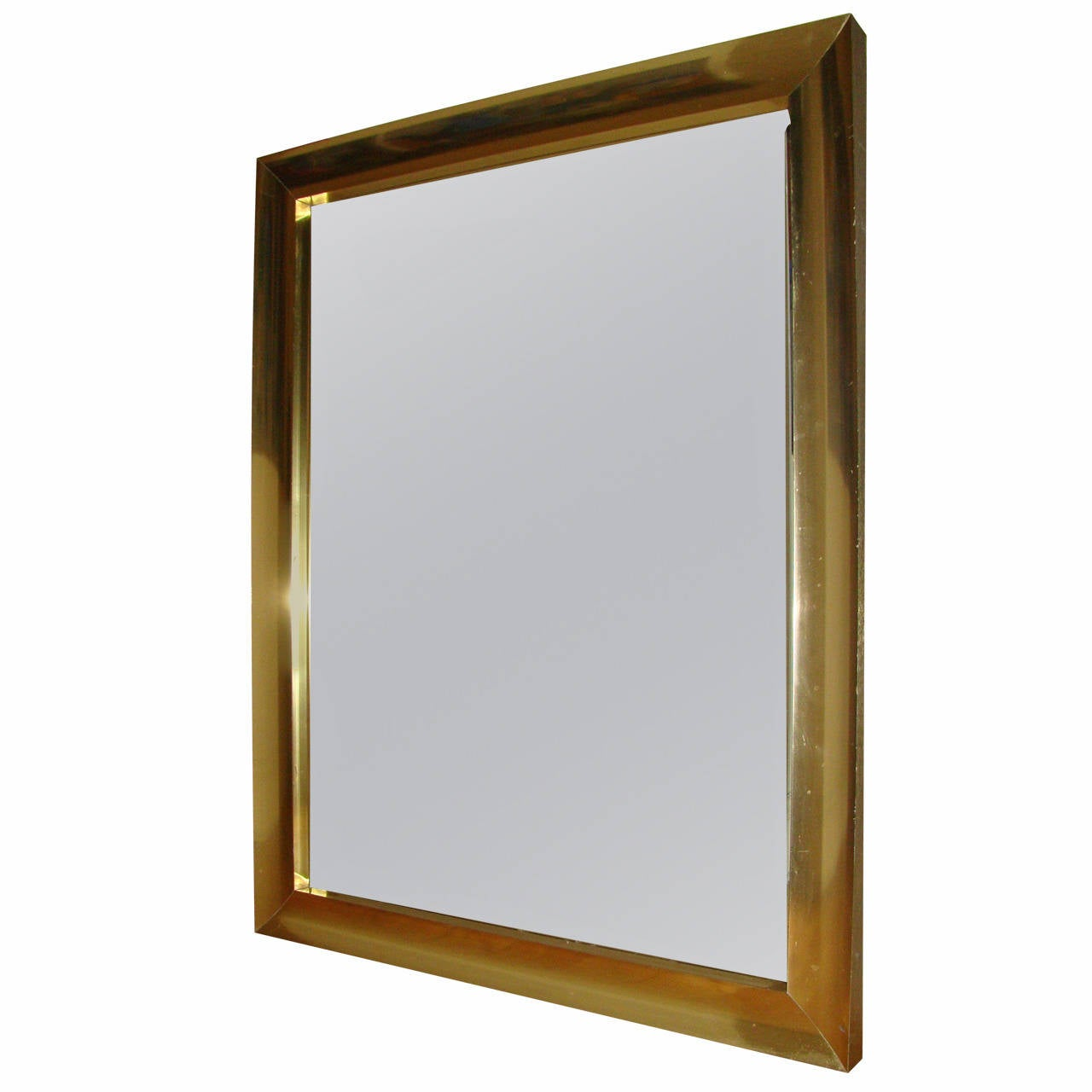 Large scale mid century brass wall hanging mirror 1970s for Hanging a large mirror