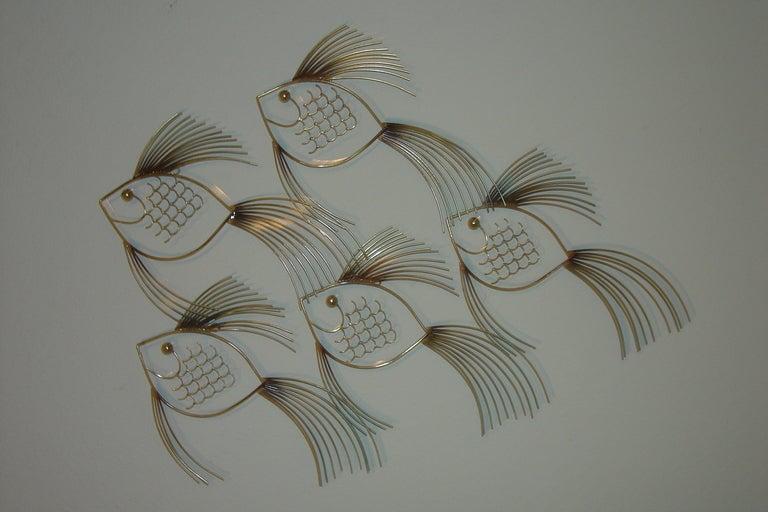 Large school of fish curtis jere modern art metal wall for School of fish metal wall art