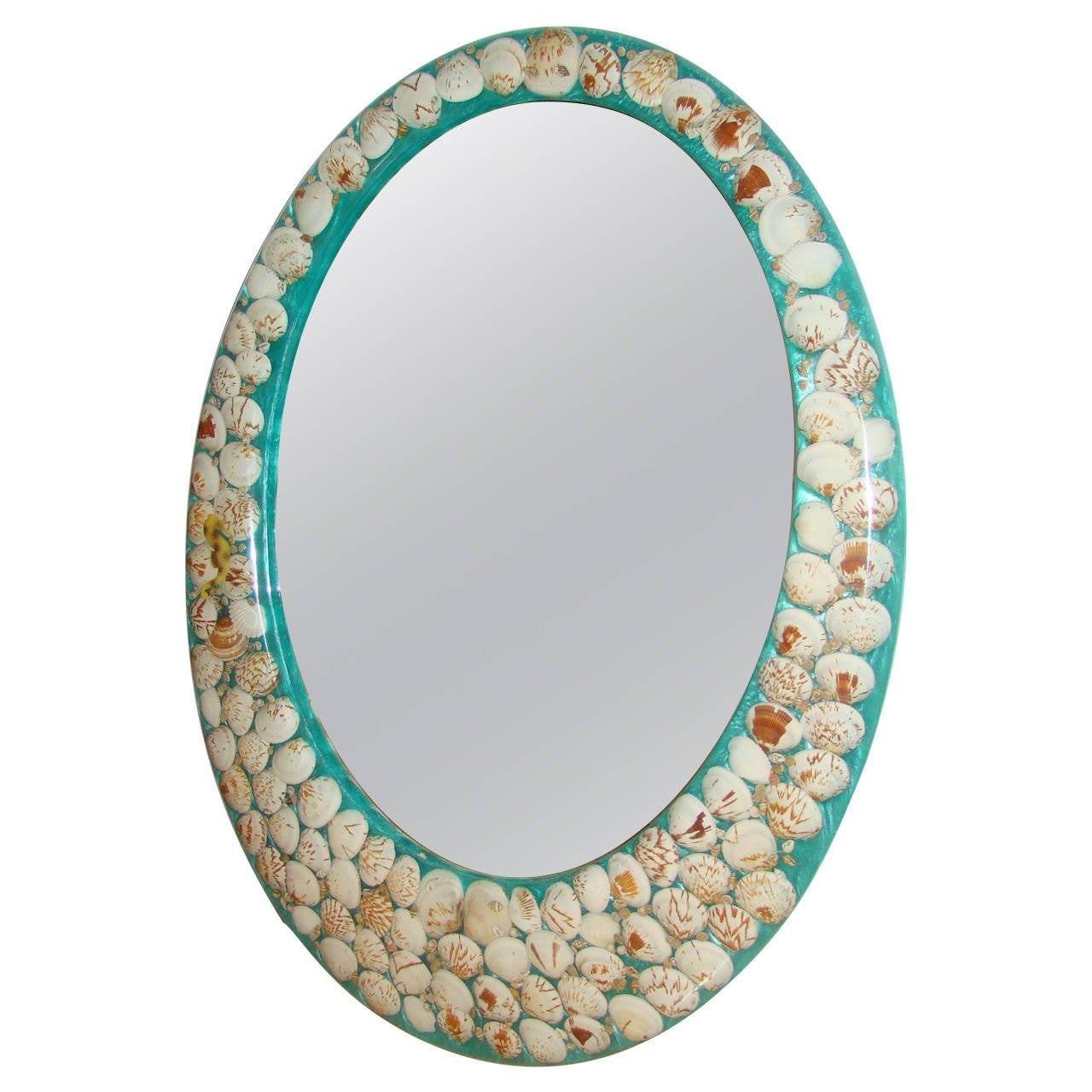 Lucite sea shell embedded oval wall hanging mirror at 1stdibs for Hanging mirror