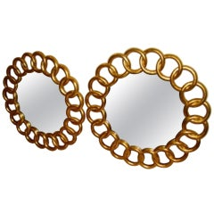 Pair of Amazing Gold Guilded Wood Italian Wall Hanging Ring Mirrors