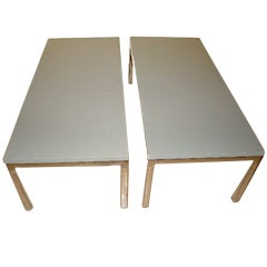 Pair of Chrome Frame Sculptural Low End Tables / Benches