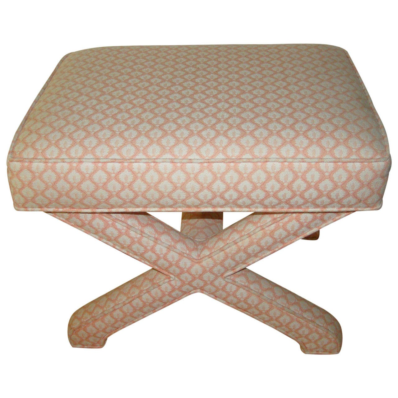 Mid Century Sculptural X Base Upholstered Bench Stool At