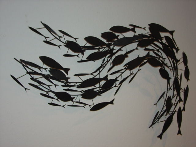 Curtis jere big school of fish metal wall sculpture for School of fish metal wall art