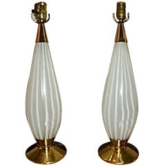Lightolier Mid Century Brass & Glass Table Lamp Pair