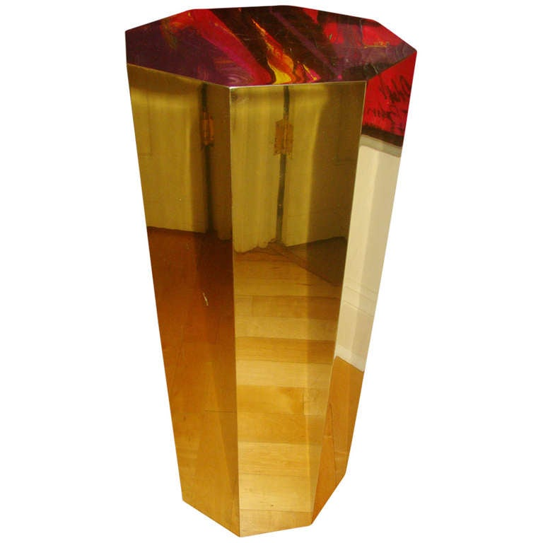 Curtis Jere Faceted Brass Pedestal Table Sculpture Stand