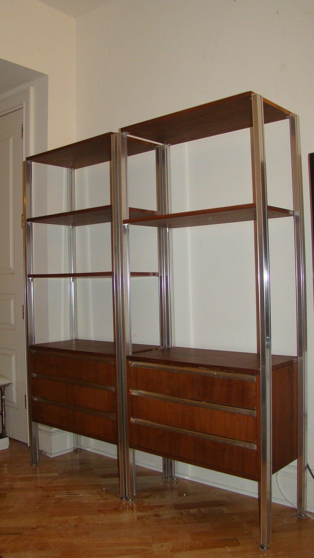 Pair of italian modern mid century bookcase storage wall - Modern bookshelf wall unit ...