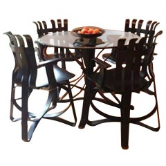 Frank Gehry set of 4 Knoll Hat Trick Dining Chairs & Face Off Dining Table