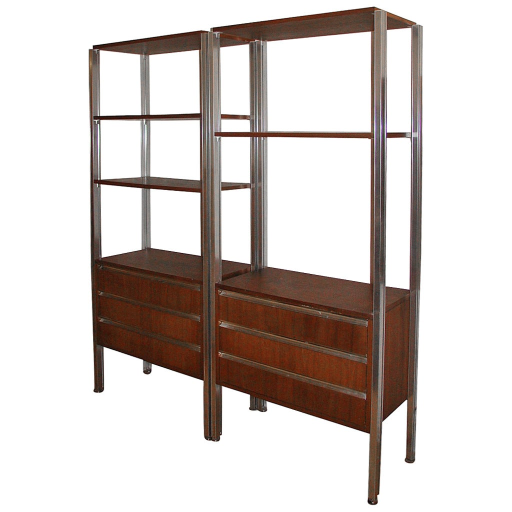 pair of italian modern mid century bookcase storage wall units at 1stdibs. Black Bedroom Furniture Sets. Home Design Ideas