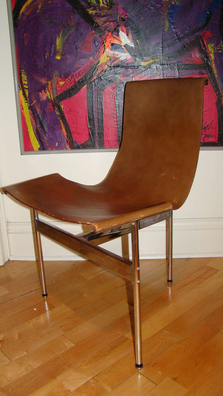 Katavolos Chrome And Leather Modern Sling Chair For