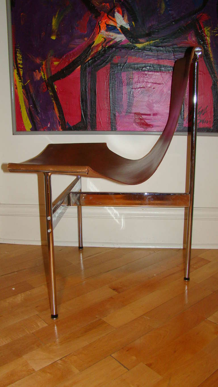 Katavolos Chrome & Leather Modern Sling Chair for Laverne 7