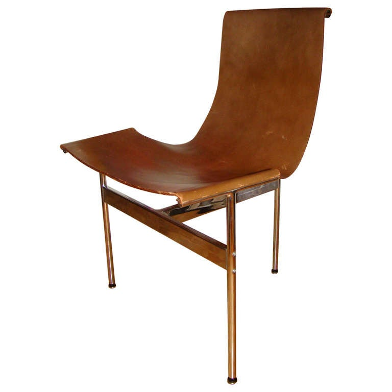 katavolos chrome and leather modern sling chair for laverne at 1stdibs
