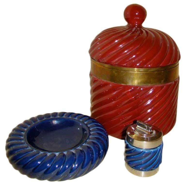 Tommaso Barbi Ice Bucket And Ashtray Lighter Italian