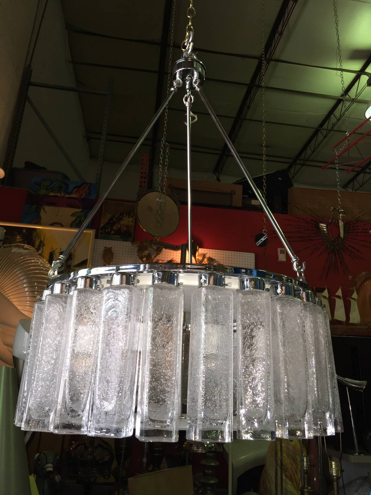 Murano Glass Chrome Mid Century Sculptural Chandelier At