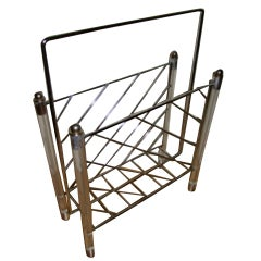 Lucite & Chrome Sculptural Magazine Rack / Stand