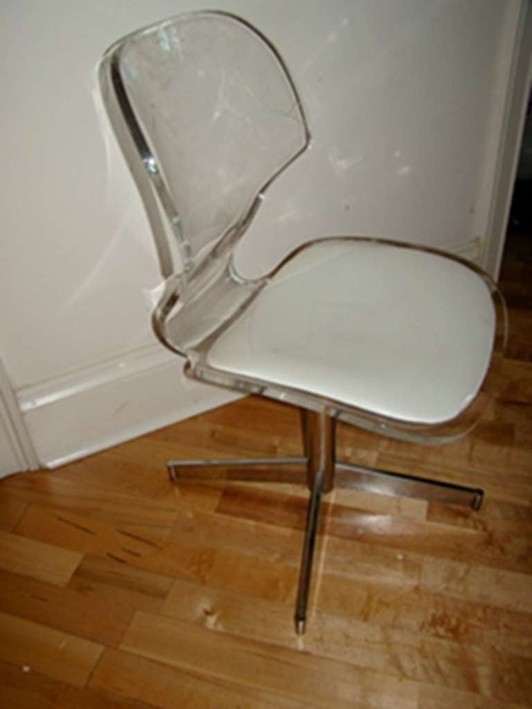 Sculptural Lucite and Chrome Vanity Desk Chair at 1stdibs