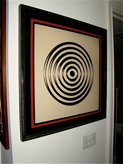 Op Art Mid Century Reverse Glass Painted Wall Hanging image 2