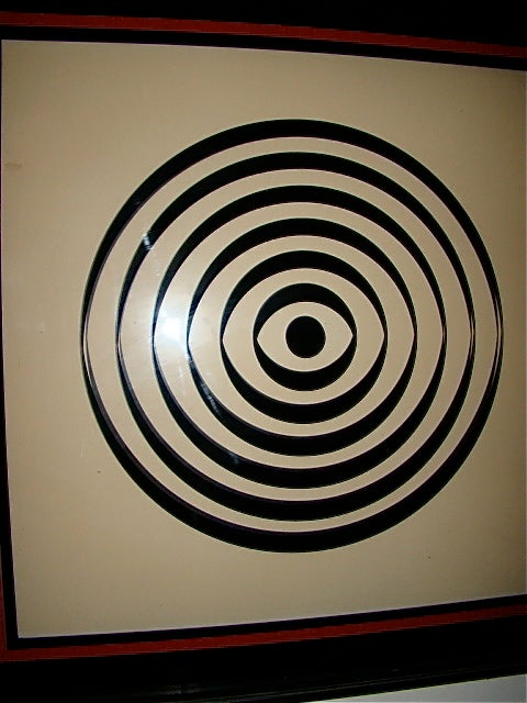 Op Art Mid Century Reverse Glass Painted Wall Hanging image 3
