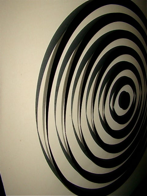 Op Art Mid Century Reverse Glass Painted Wall Hanging image 4