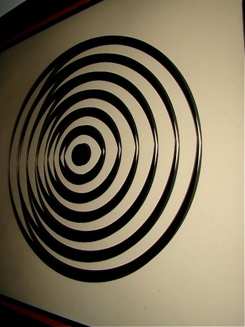 Op Art Mid Century Reverse Glass Painted Wall Hanging image 5