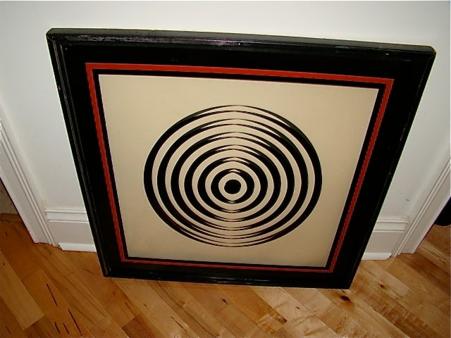 Op Art Mid Century Reverse Glass Painted Wall Hanging image 6
