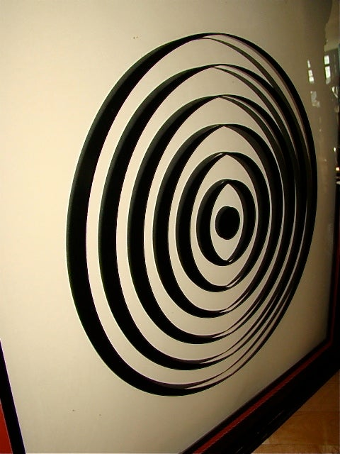 Op Art Mid Century Reverse Glass Painted Wall Hanging image 7