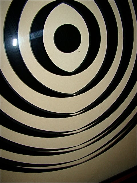 Op Art Mid Century Reverse Glass Painted Wall Hanging image 8
