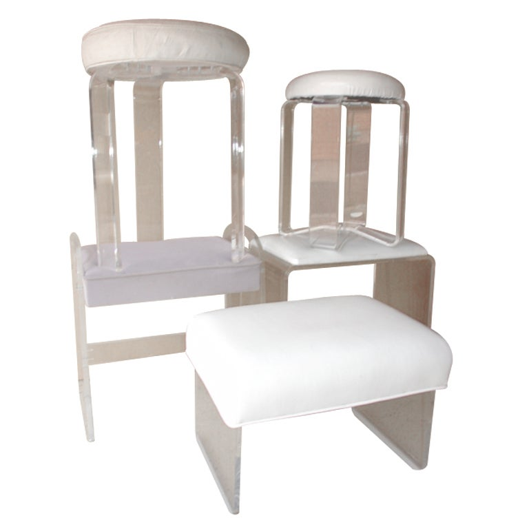 1970s mid century modern lucite vanity stool ottoman
