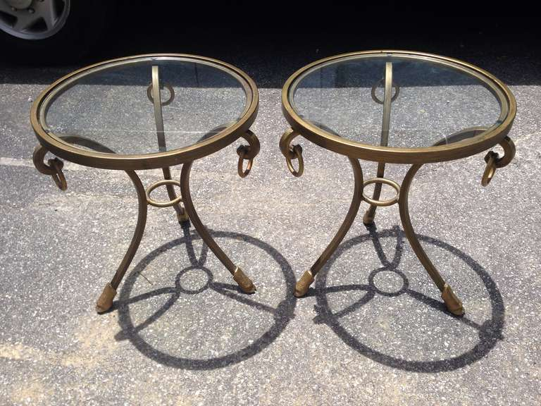 Pair Of Hoof Foot Glass Top End Tables At 1stdibs