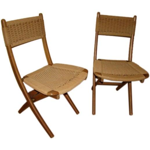 Danish Modern Pair of Mid Century Folding Rope Chairs at 1stdibs