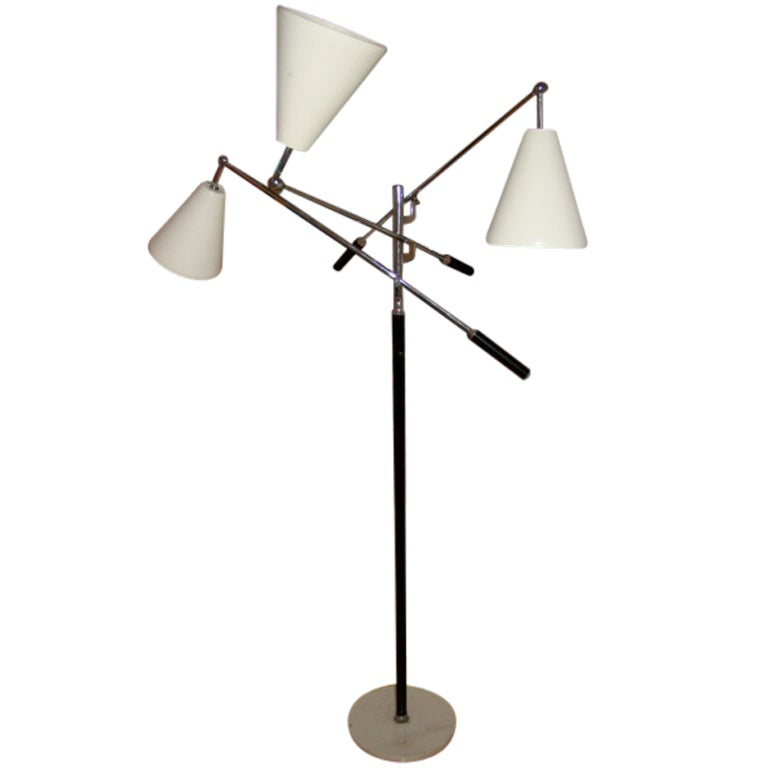 arredoluce 3 arm triennale mid century floor lamp at 1stdibs. Black Bedroom Furniture Sets. Home Design Ideas