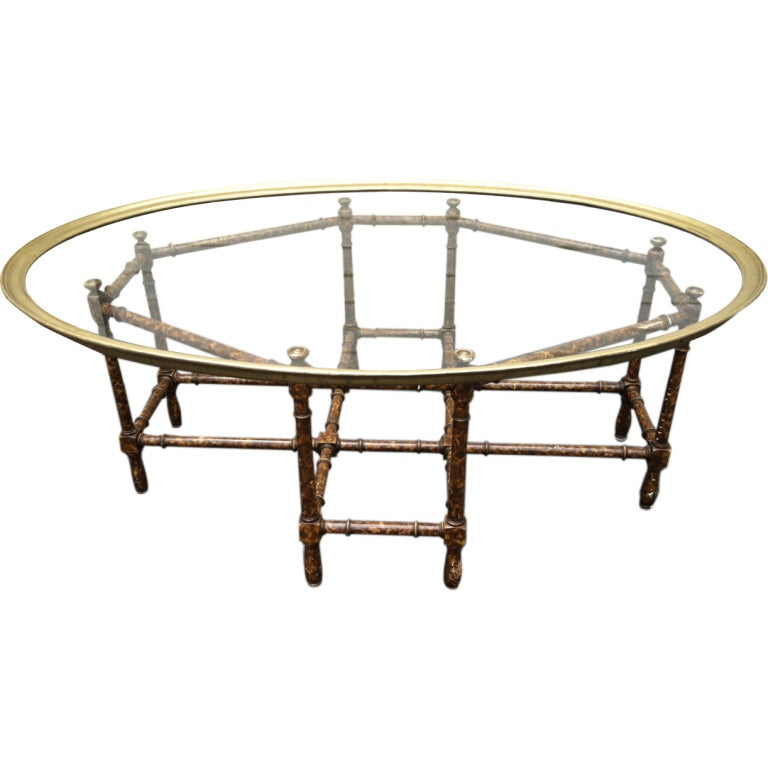 Baker Faux Bamboo Tortoise Shell Brass Tray Coffee Table At 1stdibs