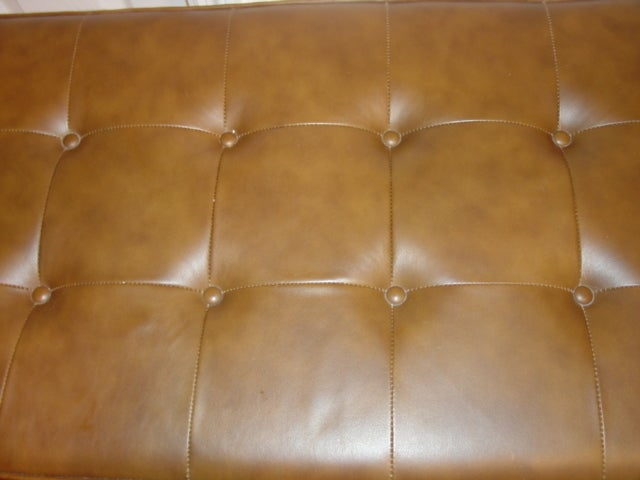 Leather chesterfield style bench ottoman with chrome frame for Decor jewelry chesterfield