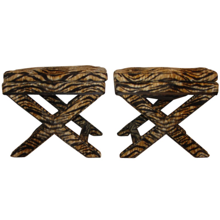 Pair Of X Stool Benches With Exotic Tiger Print Fabric At