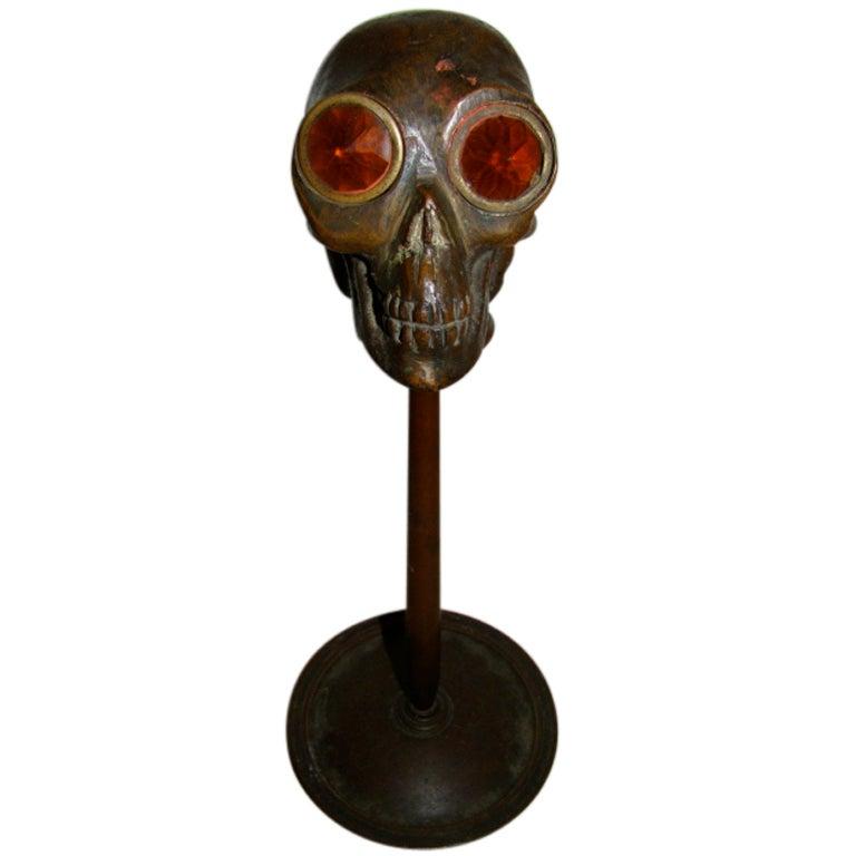 Art Deco Bronze Skull Sculptural Table Lamp At 1stdibs