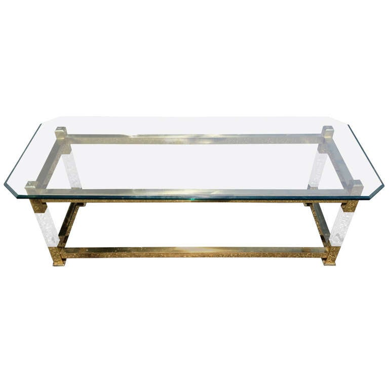 Lucite and brass mid century coffee table at 1stdibs for Lucite and brass coffee table