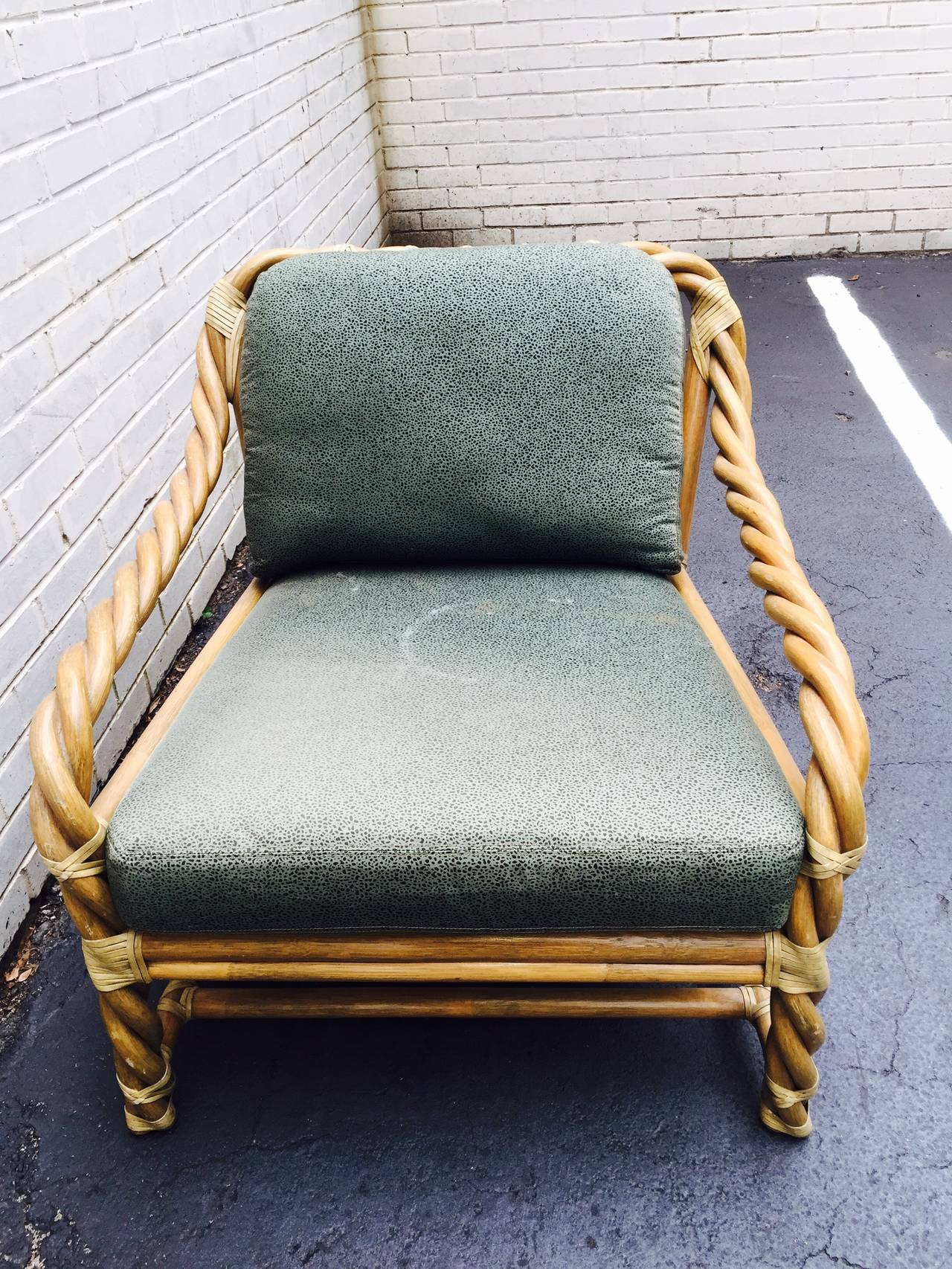 Mcguire Twisted Rattan Mid Century Lounge Chair At 1stdibs