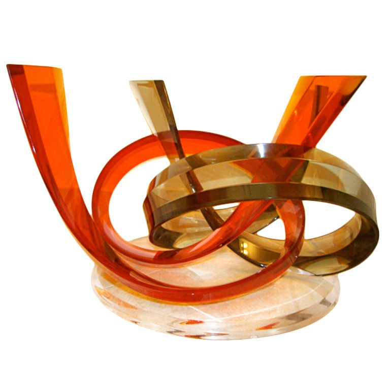 Colorful Abstract Lucite Swirl Coffee Table By Haziza At 1stdibs