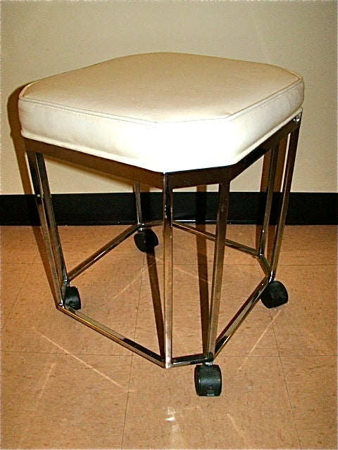 milo baughman sculptural chrome rolling vanity stool image 4