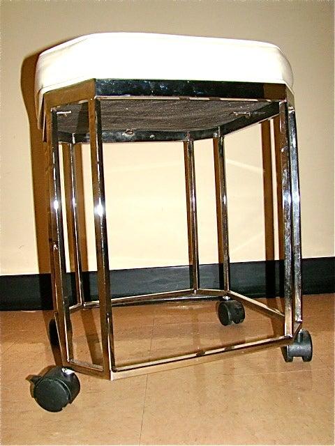 milo baughman sculptural chrome rolling vanity stool at