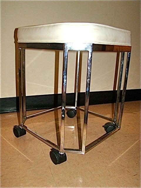 milo baughman sculptural chrome rolling vanity stool at 1stdibs