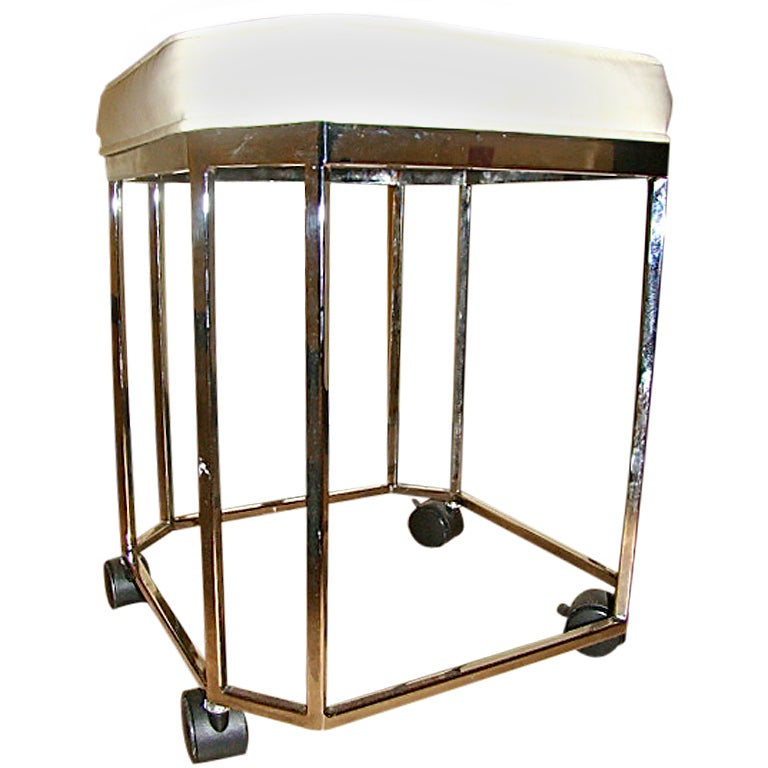 milo baughman sculptural chrome rolling vanity stool