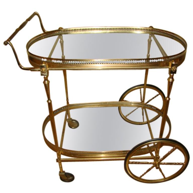 Italian Brass Chiavari Rolling Bar Cart By Fratelli