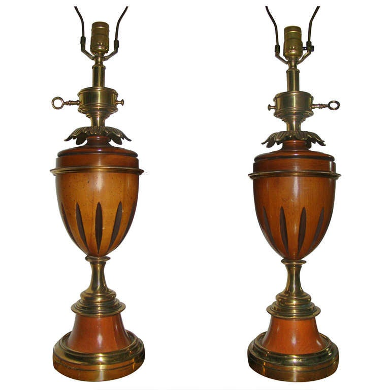 pair of stiffel brass and wood mid century table lamps at 1stdibs. Black Bedroom Furniture Sets. Home Design Ideas
