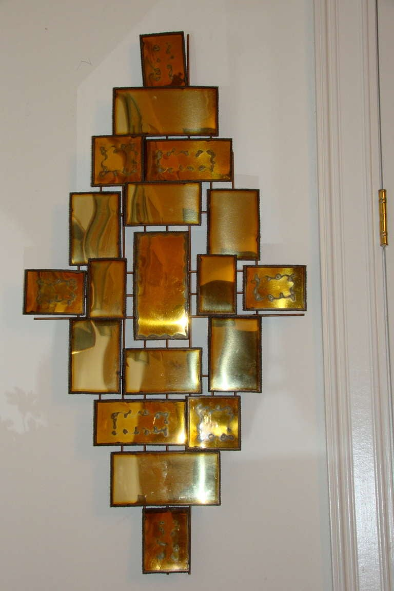 C Jere Brass Cubist Metal Wall Hanging Sculpture At 1stdibs