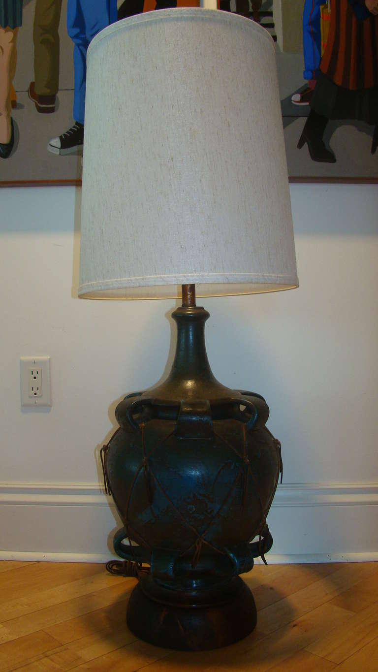 Italian Pottery And Leather Large Scale Table Lamp At 1stdibs